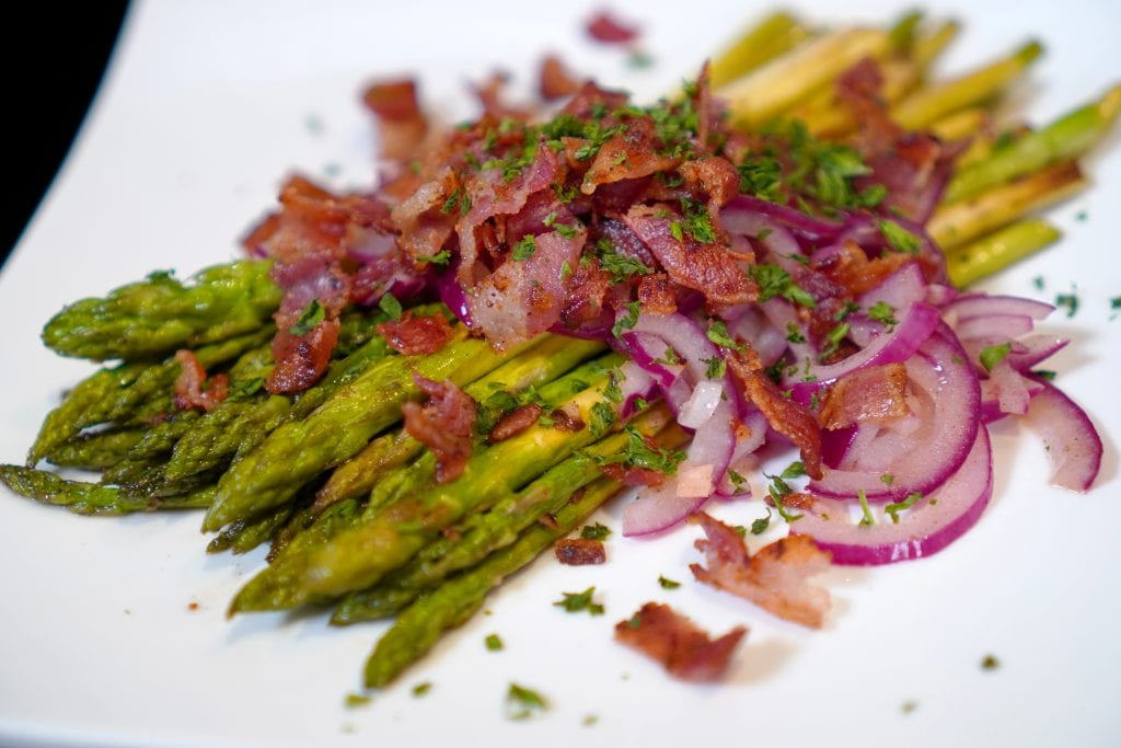 Asparagus with Sherry-Bacon Vinaigrette, Vegetables, Red Onion, Garlic, French Cuisine, Appetizer