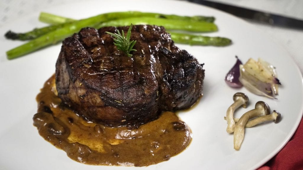 Copycat The Capital Grille Grilled Beef Tenderloin Steak - a thick juicy cut of beef tenderloin beef with savory dates essence and a side of mashed potatoes and roasted vegetables