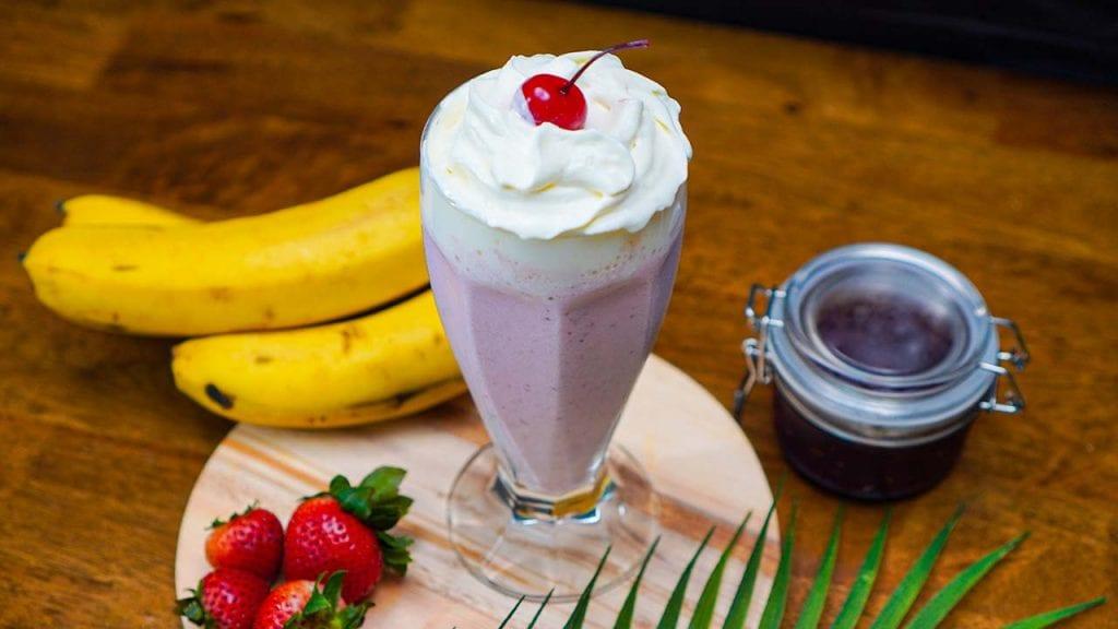 Classic Strawberry Milkshake - sweet, creamy, and frothy strawberry milkshake drink