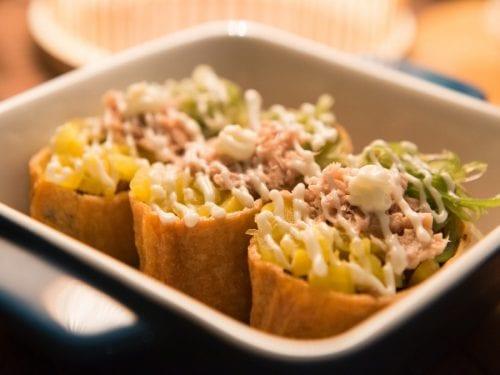 Mahi Mahi Tacos Recipe (California Pizza Kitchen Copycat) - soft-shelled tortilla stuffed with rice and mahi mahi fish with ranch and sriracha dressing