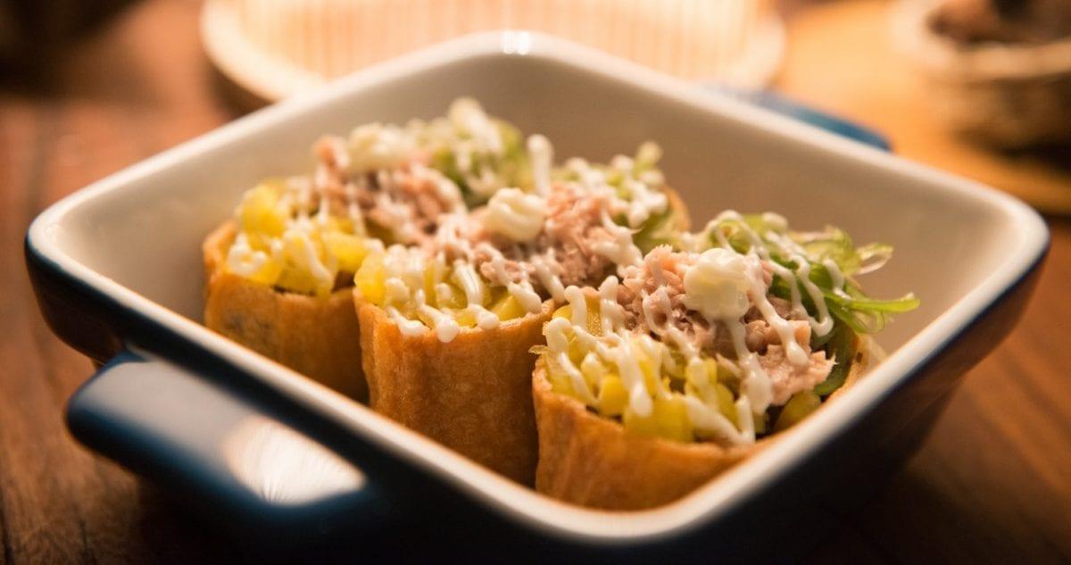 Mahi mahi tacos (California Pizza Kitchen Copycat) - soft-shelled tortilla stuffed with rice and mahi mahi fish with ranch and sriracha dressing