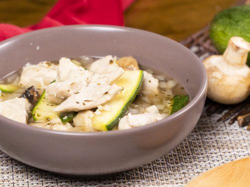 Crockpot Chicken and Zucchini Strips Recipe, chicken and zucchini in soup broth