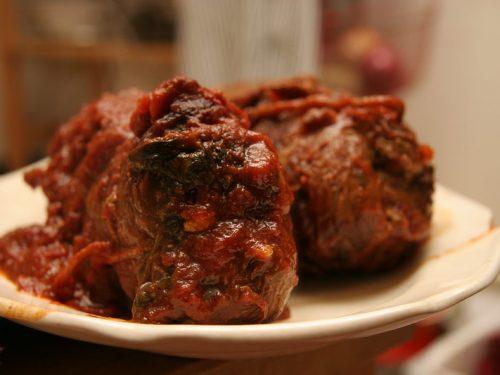 Pork Braciole in Tomato Sauce Recipe, crispy pig skin braised in italian tomato sauce