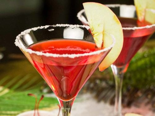 Red Apple Martini Recipe, Sweet and fruity vodka martini with apple liqueur