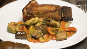 Roasted Brussels Sprouts, Eggplant, and Tomatoes Recipe