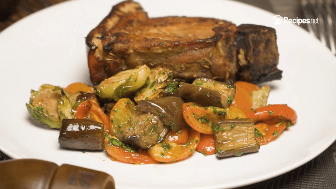 Roasted Brussels Sprouts, Eggplant, and Tomatoes