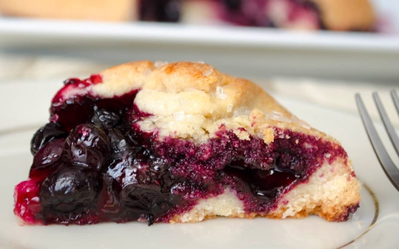 closeup on a berry pie dessert
