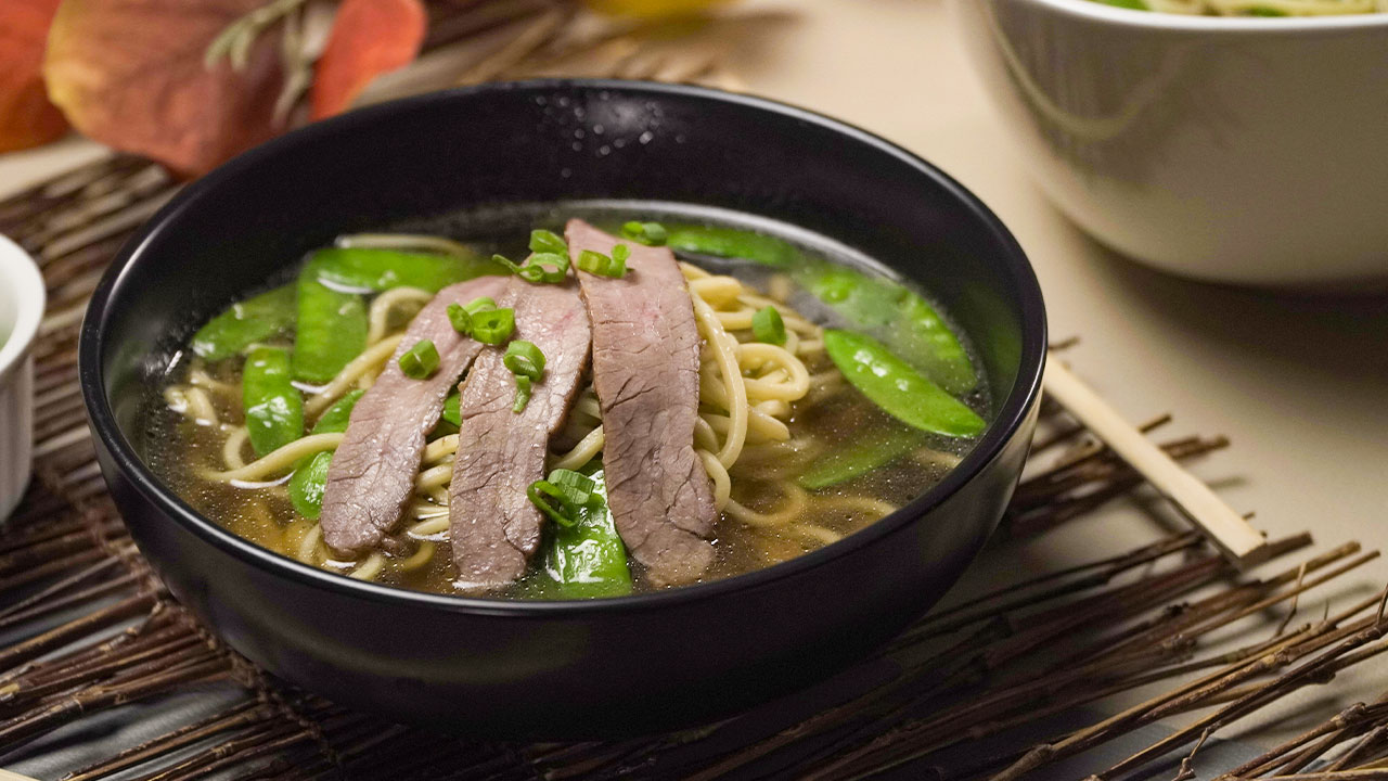 Thinly Sliced Beef Ramen Soup Recipe, ramen bowl with beef flank steak and noodles
