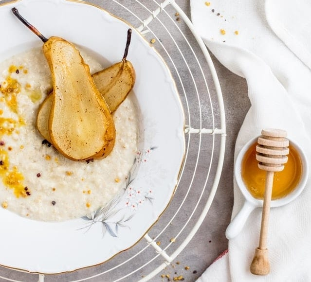 Almond Rice Pudding with Poached Pears Recipe