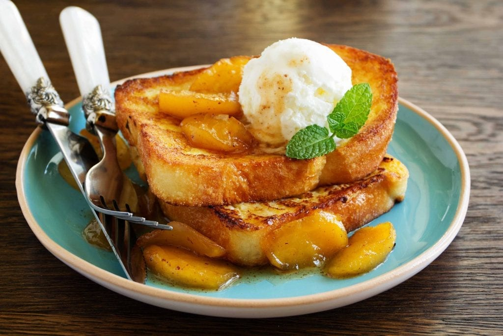 french toast with baked apples on top