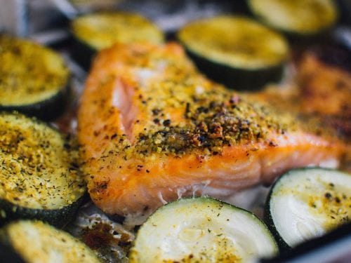 baked salmon with zucchini