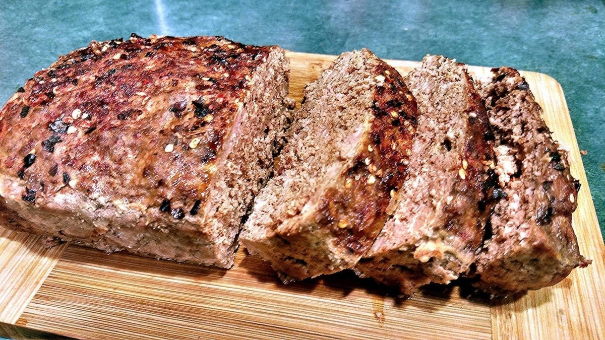beef meatloaf on a wooden board