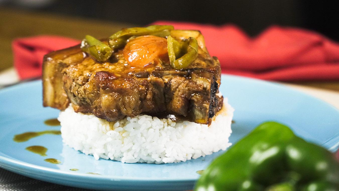 BBQ Pork Over White Rice Recipe