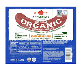 Applegate Great Organic Beef Hot Dog Uncured