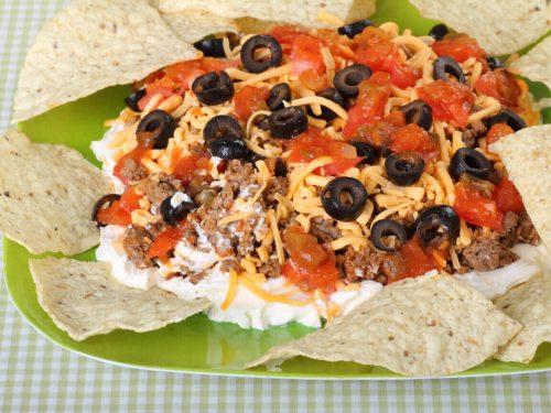 Beef Taco Dip Recipe, layered cheesy taco