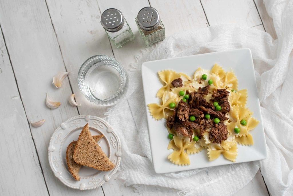 Beef Tips in Gravy Over Garlic Bows Recipe