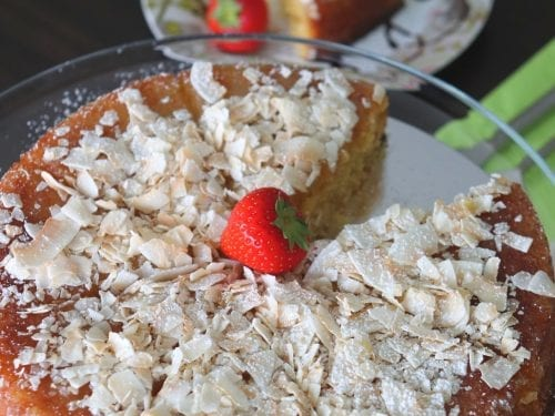 cake covered with coconut flakes
