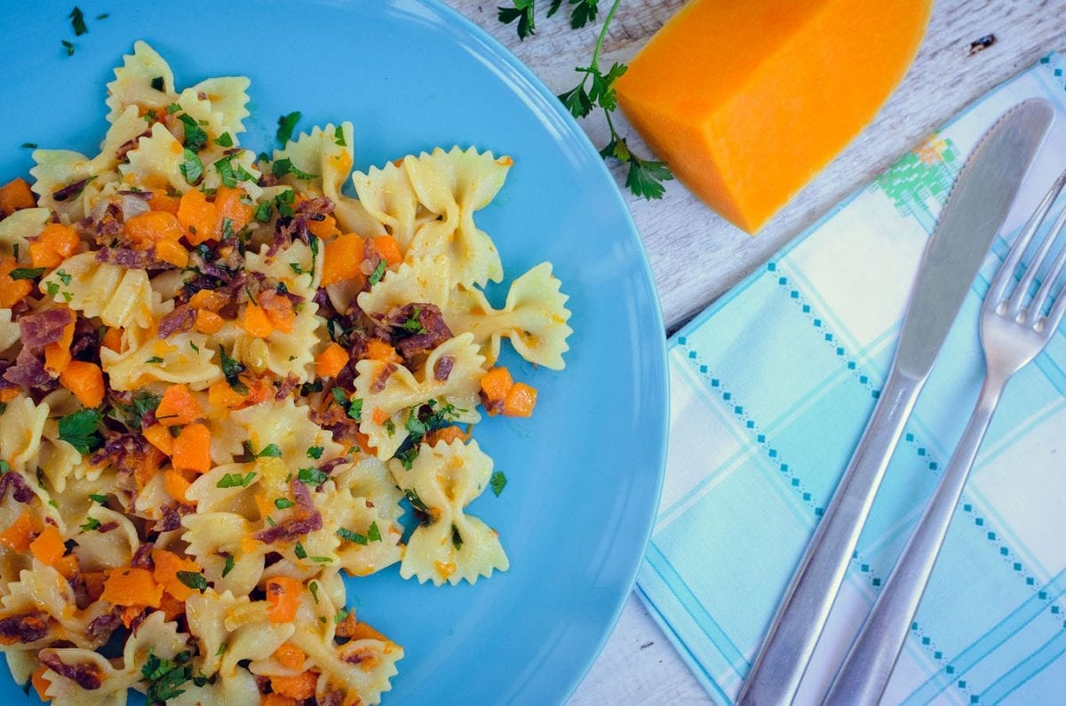 bow ties with butternut squash