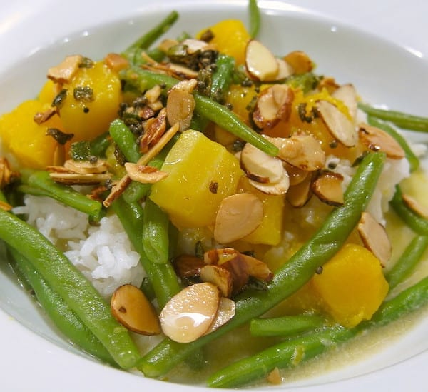butternut squash and green beans with maple syrup