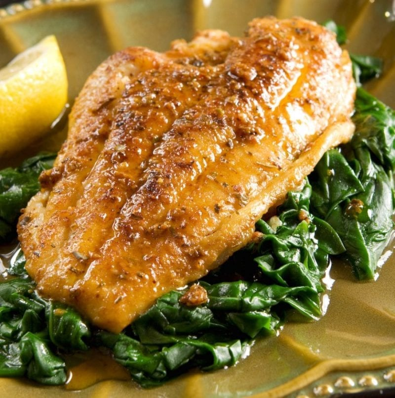 Catfish Roasted with Sesame Seeds, Basil, Garlic and Spinach Recipe