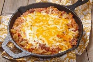 Cheesy Beef Cornbread Skillet Casserole Recipe