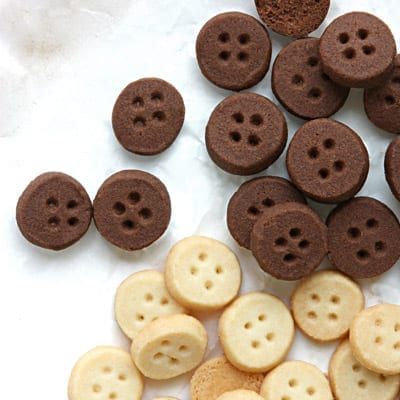 chocolate and vanilla button cookies