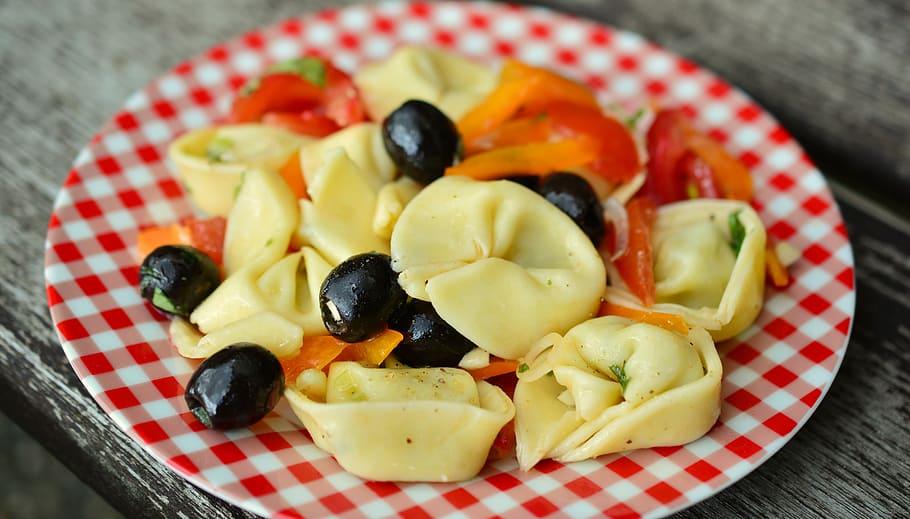 tortellini with vegetable salad