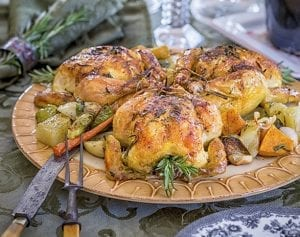 Cornish Game Hens with Garlic and Rosemary Recipe