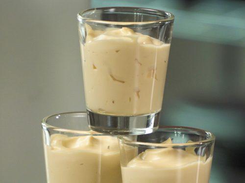 Creamy Vanilla Pudding Shots Recipe, alcoholic vanilla pudding shots in a shot glass