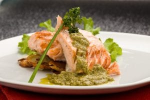 Crisp-Sided Salmon With Fresh Coriander Pesto Recipe