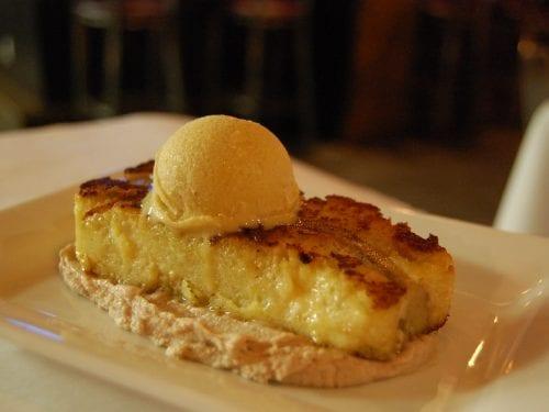 banana bread pudding with an ice cream