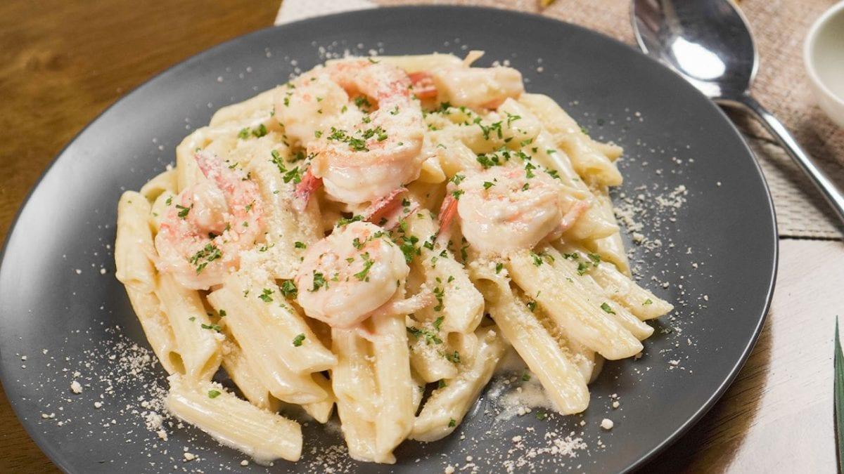 Delightful Garlic Vodka Alfredo Sauce With Shrimp Recipe, creamy penne alla vodka pasta with shrimp