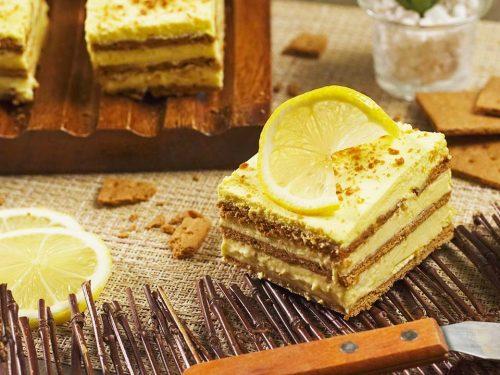No Bake Lemon Cake With Lemon Zest Frosting