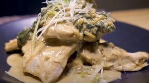 Chicken Breasts with Spinach and Leek Paprikash Sauce Recipe