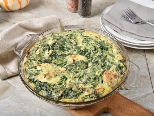Spinach Casserole Recipe- easy low-carb spinach casserole with matzo meal