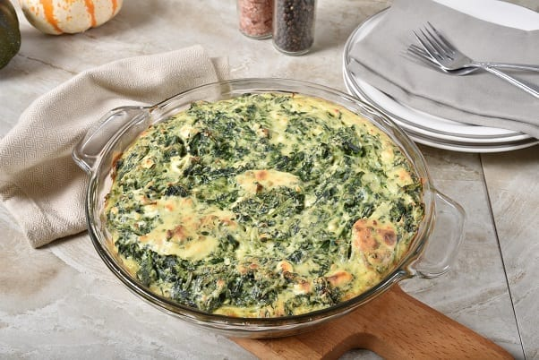 Passover Spinach Casserole - a meat-free savory spinach casserole dish made of frozen spinach, matzo meal, cheese, and other tasty ingredients