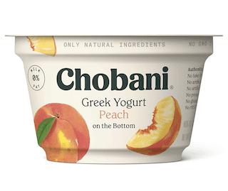 Chobani Non-Fat Greek Yogurt, Peach on the Bottom