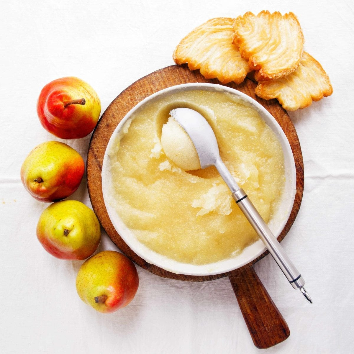 top shot of a bowl of pear sorbet