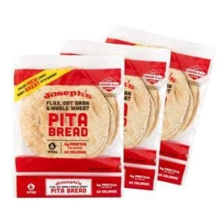 Joseph's Value 3-Pack- Pita Bread, Flax Oat Bran and Whole Wheat, 7g Carbs per Serving