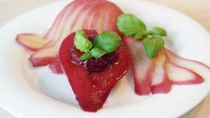 Poached Pears with Cranberry Spice Sauce Recipe