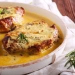 Pork Chop Casserole Recipe, easy smothered pork with cheese, sour cream, and mushroom soup