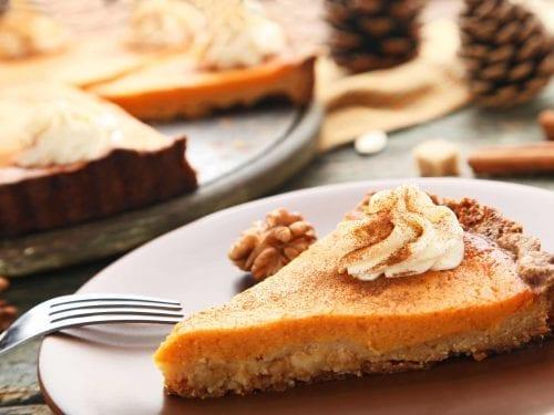 pumpkin pie with a crumb crust