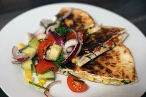 Spinach, Black Bean Quesadilla with Pico de Gallo Recipe