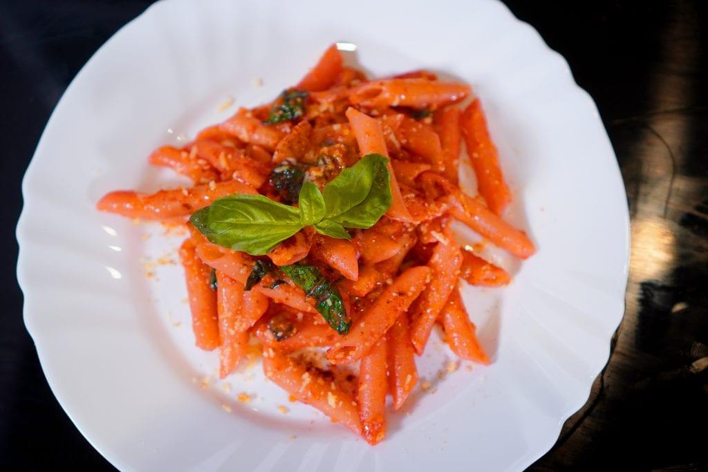 Summer Squash and Basil Pasta, Italian Cuisine, Main Course, Zucchini, Basil Leaves, Sea Salt