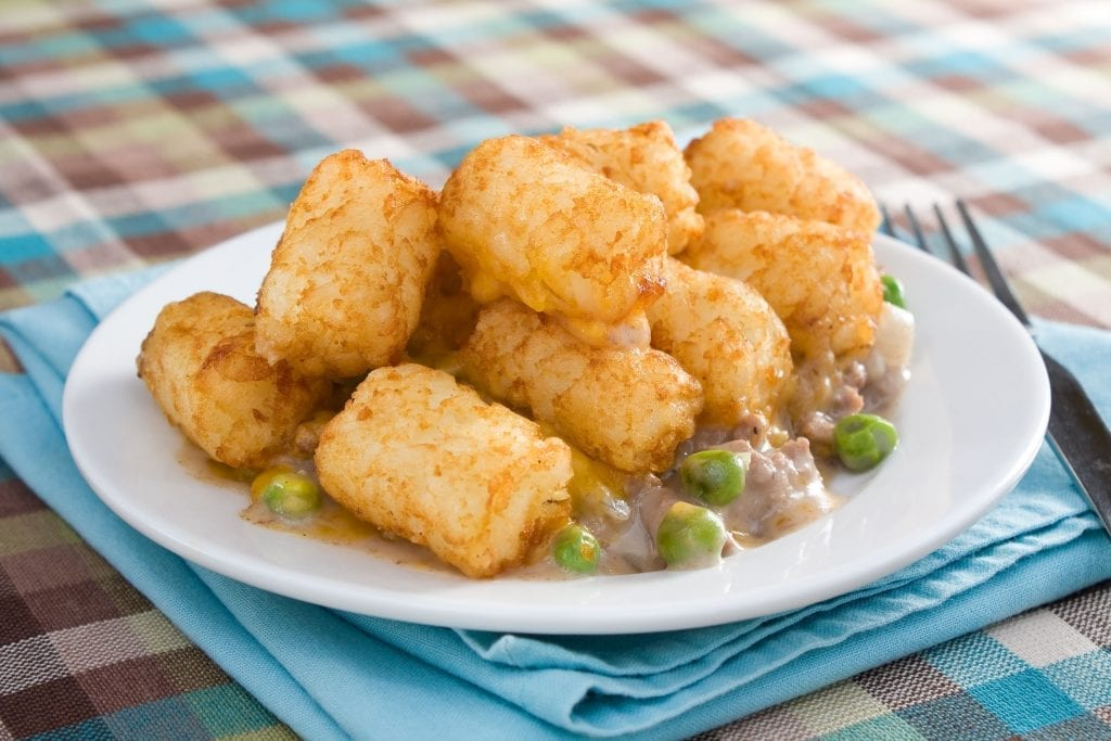 Tater Tot Casserole with Burger and Beans Recipe