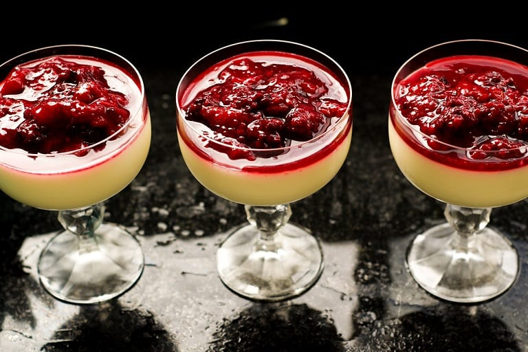 "Buttermilk Panna Cotta ""Martinis"" with Fresh Berry Compote Recipe"
