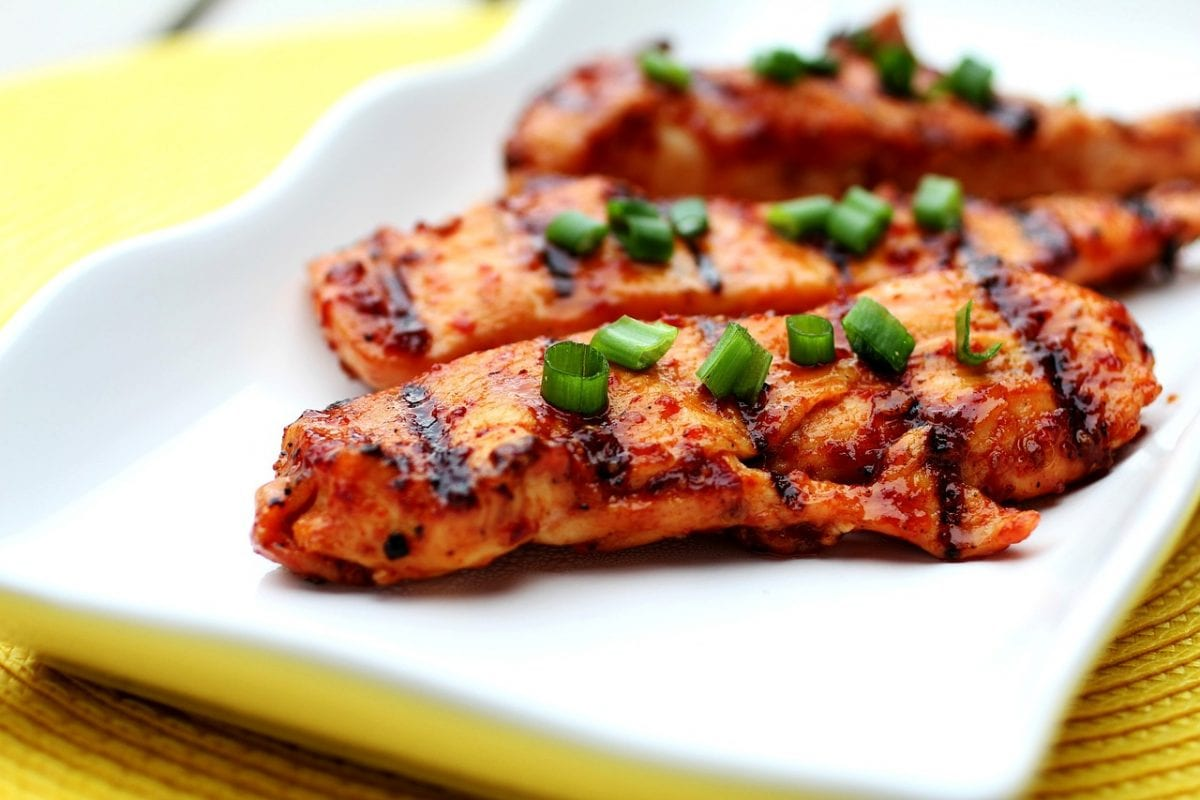 Grilled Chicken Breast with Red Currant Rhubarb Sauce and Port Wine Recipe