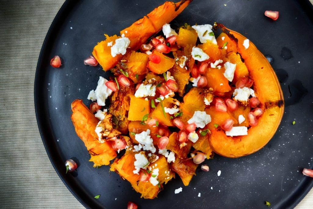 Best Roasted Sweet Potato Salad Recipe, roasted sweet potato salad with feta cheese and green onions