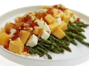 Asparagus with Melon and Prosciutto with Shaved Parmesan and Fresh Basil Recipe