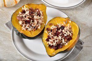 Baked Acorn Squash with Caramelized Apples, Pecans, and Onions Recipe